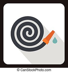 Rolled up garden hose icon, flat style