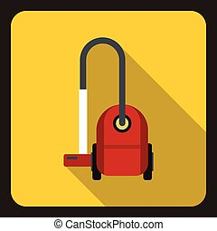 Vacuum cleaner icon, flat style - icon in flat style on a...