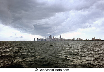 Crazy clouds over Chicago - taken from Lake Michigan.