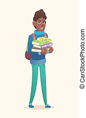 African school boy stack of books