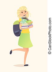Schoolgirl backpack and books - Schoolgirl with backpack and...