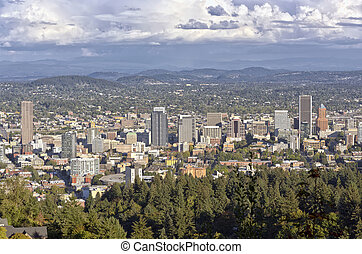 Portland Oregon downtown from Pittock mansion. - Portland...