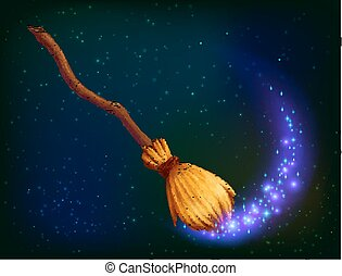 Vector magic witch broom on dark background - Vector magic...