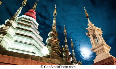 Night timelapse of a temple in Chiang Mai, Thailand, with...