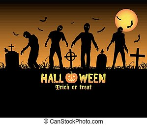halloween zombies in a graveyard