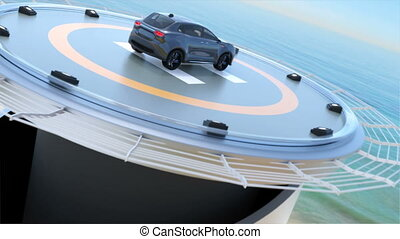 Black electric SUV on the helipad - Black electric SUV...