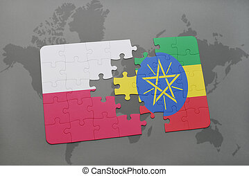puzzle with the national flag of poland and ethiopia on a world map background. 3D illustration