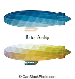 Retro airship dirigible balloon flight - Vector blimp retro...