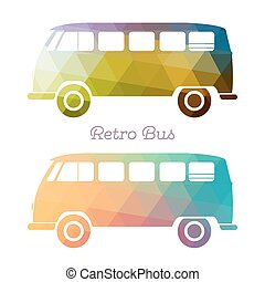 Retro multicolor bus. Vintage van flat design. Vector...
