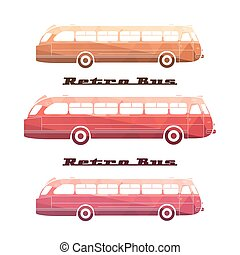 Side view of colorful silhouettes of retro bus on white...