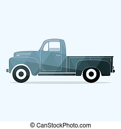Classic pickup truck. Flat styled vector illustration. flat...