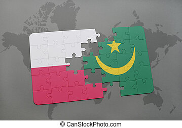 puzzle with the national flag of poland and mauritania on a world map background. 3D illustration