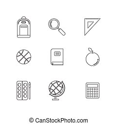 School and Education Icons set - School and Education Flat...