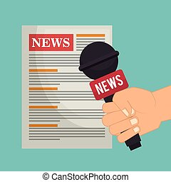 cartoon hand microphone news paper graphic vector...