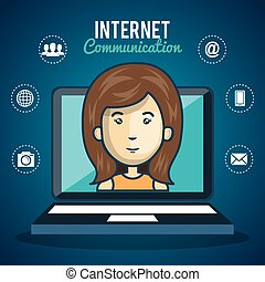 man laptop technolog internet communication graphic