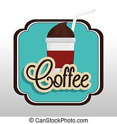 coffee cup plastic with straw graphic