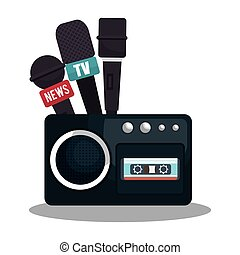 tape recorder cassette news microphone graphic vector...