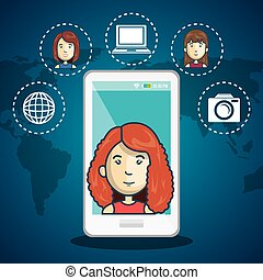 cartoon woman white smartphone connection web world graphic