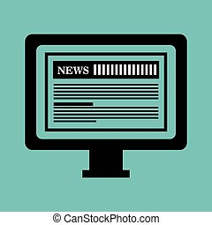 monitor pc news paper graphic isolated vector illustration...