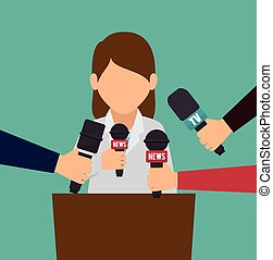 character interviwe podium microphone graphic vector...
