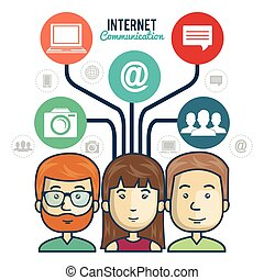 internet connection group persons graphic