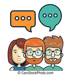 characters chat talk bubble speech graphic vector...