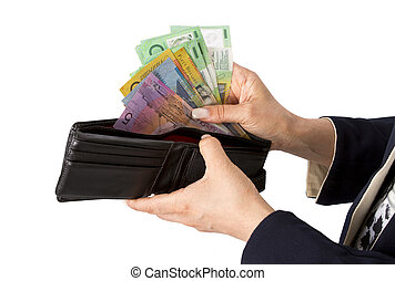 checking or taking Australian dollar from purse - Business...