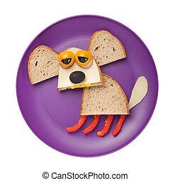 perro, hecho, de, bread, y, vegetales, en, placa