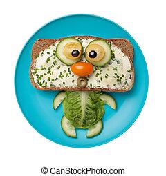 divertido, hecho, placa, vegetales, gato,  bread