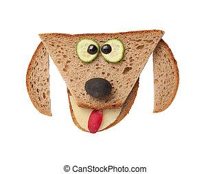 divertido, hecho, perro, aislado, Plano de fondo,  bread