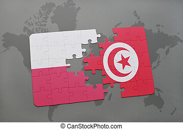 puzzle with the national flag of poland and tunisia on a world map background. 3D illustration