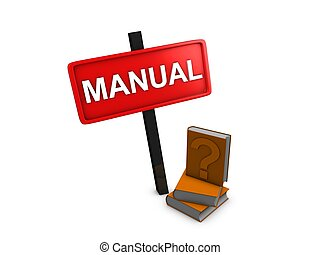 Manual - 3d image, manual reference books, over white...