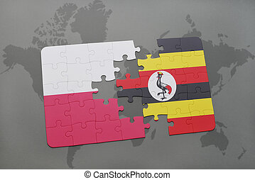 puzzle with the national flag of poland and uganda on a world map background. 3D illustration