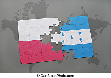 puzzle with the national flag of poland and honduras on a world map background. 3D illustration