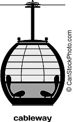 Cabin cableway. Vector Image. Black and white image details...