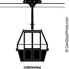 Black silhouette of the cabin cableway. Design element of...