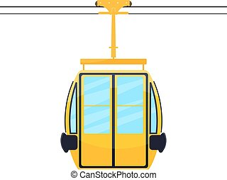 Colored silhouette of the cabin cableway. Design element of...