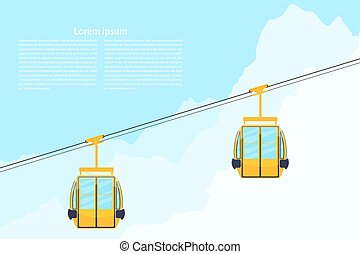 Color cabin cableway. Design element of the cableway....