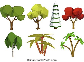 Low poly trees. Vector set of trees in the style of low poli. Birch, spruce, oak, palm. Stock