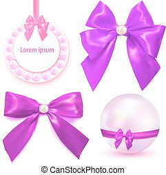 Purple award ribbons badge with white background. Abstract object decorations. Isolate. Set