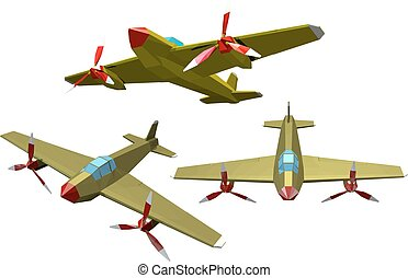 Set of color vector military airplanes on a white...