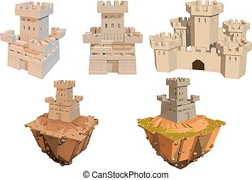 Vector color set of castles and islands on a white...