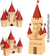 Vector color set of castles and flags on a white background...