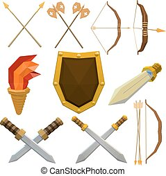 Colorful vector set of medieval weapons isolated on white background. Low poly armed knights., shield, spear, ax, torch, arrow, dagger. Stock vector illustration