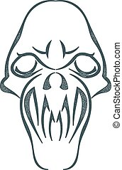 Sketch black skull isolated on white background. Tattoo....