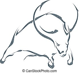 The black silhouette a angry bull on a white background. Stock vector illustration.