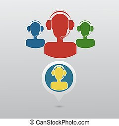 Call center operator with headset web icon. Vector eps 10