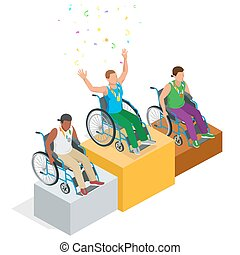 Isometric Olympic sports for peoples with disabled activity. Vector paralympic athletes