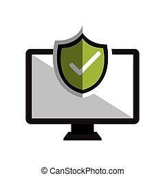 monitor symbol and checkmark design vector illustration eps...