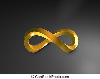 gold infinity - 3d image, 3d gold infinity shape, over dark...